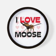 I Love Moose Wall Clock