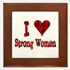 I Heart Strong Women Framed Tile