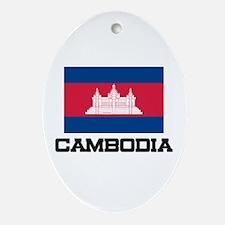 Cambodia Flag Oval Ornament