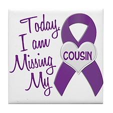 Missing My Cousin 1 PURPLE Tile Coaster