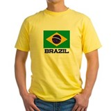 Brazil Mens Classic Yellow T-Shirts