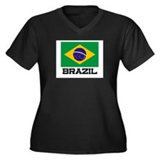 Brazil Flag Women's Plus Size V-Neck Dark T-Shirt