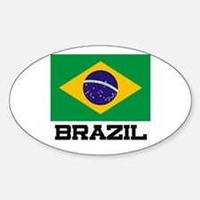 Brazil Flag Oval Decal