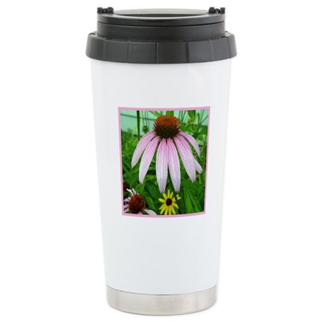 Lone Pink Coneflower Stainless Steel Travel Mug