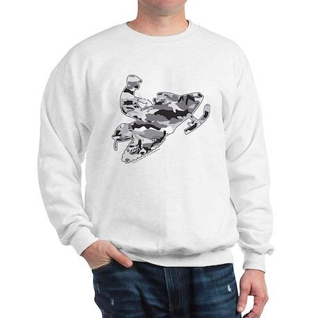 Camoflage Snowmobiler in Grey Sweatshirt