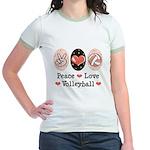 Peace Love Volleyball Jr. Ringer T-Shirt