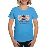 Peace Love Volleyball Women's Dark T-Shirt