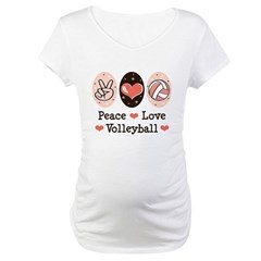 Peace Love Volleyball Maternity T-Shirt