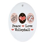 Peace Love Volleyball Oval Ornament