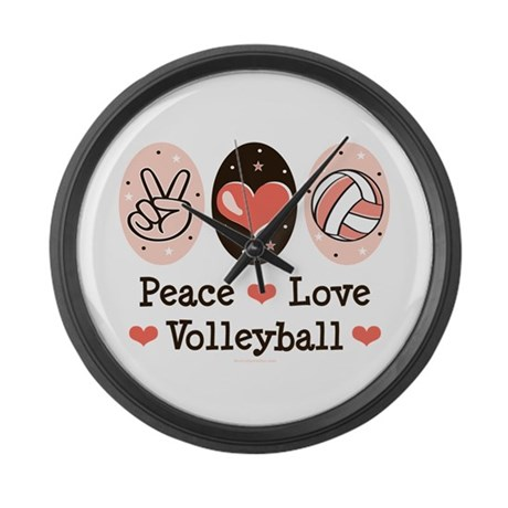 Peace Love Volleyball Large Wall Clock