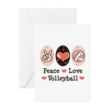 Peace Love Volleyball Greeting Card