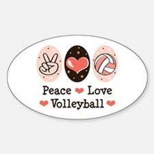 Peace Love Volleyball Oval Decal