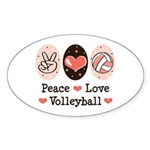 Peace Love Volleyball Oval Sticker (10 pk)