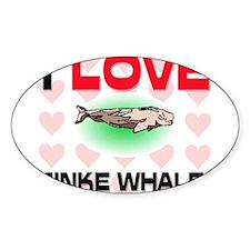 I Love Minke Whales Oval Decal