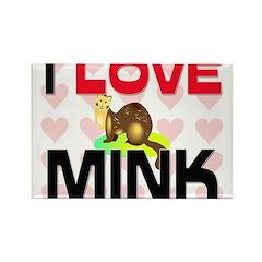 I Love Mink Rectangle Magnet (10 pack)