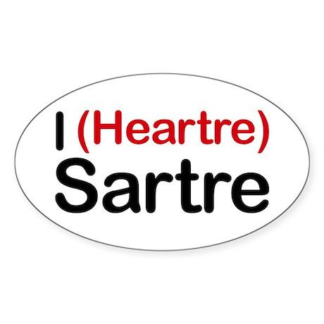 I Heartre Sartre Oval Sticker