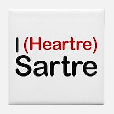 I Heartre Sartre Tile Coaster
