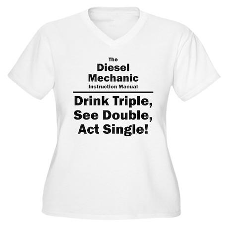 Diesel Mechanic Women's Plus Size V-Neck T-Shirt