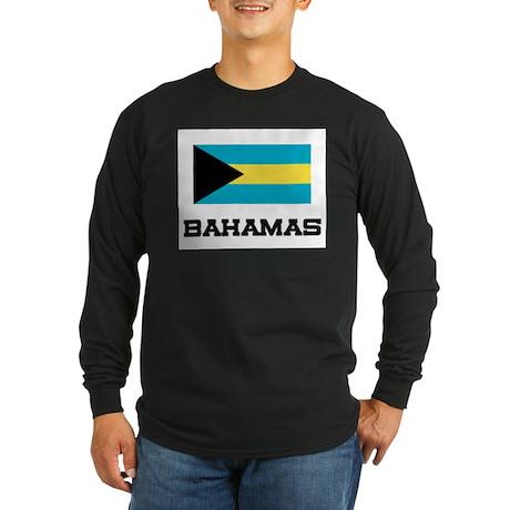 Bahamas Flag Long Sleeve Dark T-Shirt