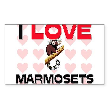 I Love Marmosets Rectangle Sticker