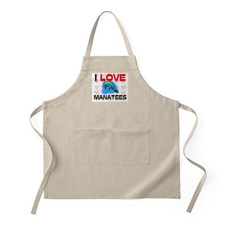 I Love Manatees BBQ Apron