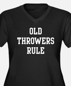 Old Throwers Rule Women's Plus Size V-Neck Dark T-