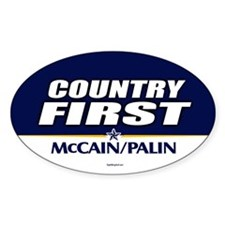 McCain Palin Country First Oval Decal