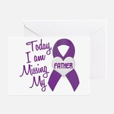 Missing My Father 1 PURPLE Greeting Card