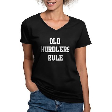 Old Hurdlers Rule Women's V-Neck Dark T-Shirt