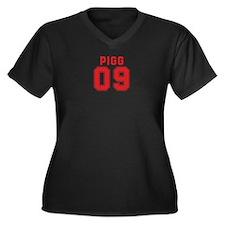 PIGG 09 Women's Plus Size V-Neck Dark T-Shirt