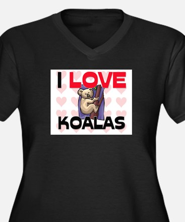 I Love Koalas Women's Plus Size V-Neck Dark T-Shir