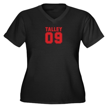 TALLEY 09 Women's Plus Size V-Neck Dark T-Shirt