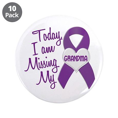 "Missing My Grandma 1 PURPLE 3.5"" Button (10 pack)"