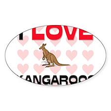 I Love Kangaroos Oval Decal