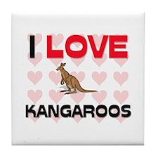 I Love Kangaroos Tile Coaster