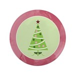"Yuletide Polka Trees 3.5"" Button"