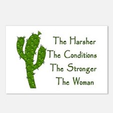 Harsh Conditions Strong Woman Postcards (Package o