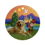 Golden Christmas Fantasy Keepsake (Round)
