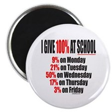 """I GIVE 100% AT SCHOOL 2.25"""" Magnet (100 pack)"""