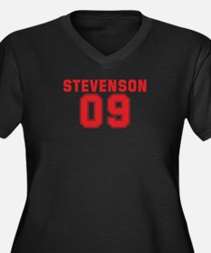 STEVENSON 09 Women's Plus Size V-Neck Dark T-Shirt