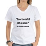 Latin Nourish and Destroy Quote (Front) Women's V-