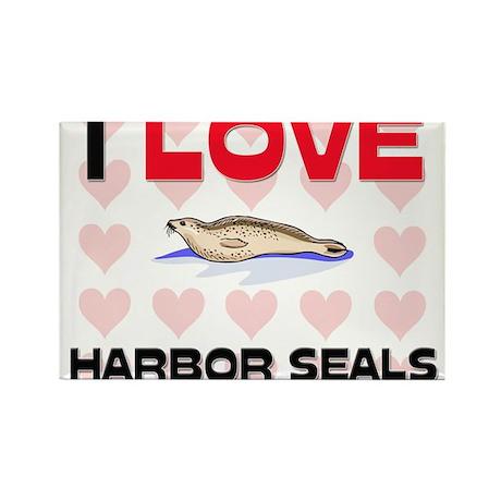 I Love Harbor Seals Rectangle Magnet (10 pack)
