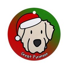 Cartoon Great Pyrenees Christmas Ornament
