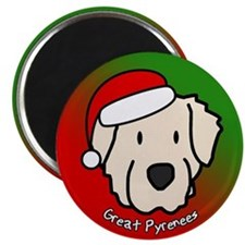 Cartoon Great Pyrenees Christmas Magnet
