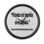 Latin Wicked Laziness Quote Large Wall Clock