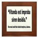 Latin Wicked Laziness Quote Framed Tile