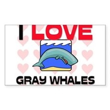 I Love Gray Whales Rectangle Decal