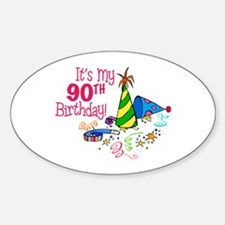 It's My 90th Birthday (Party Hats) Oval Decal