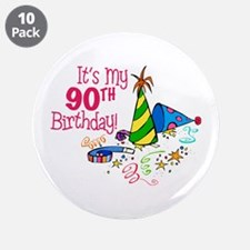 "It's My 90th Birthday (Party Hats) 3.5"" Button (10"