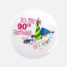 "It's My 90th Birthday (Party Hats) 3.5"" Button"
